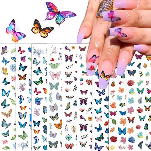 BFY Butterfly Nail Art Decals Sticker Colorful Butterflies for Nails Butterfly Design Nail Sticker Foil 3D Nail Art Self-Adhesive 10 Large Sheets Romantic Butterflies Sticker for Acrylic Nails Design