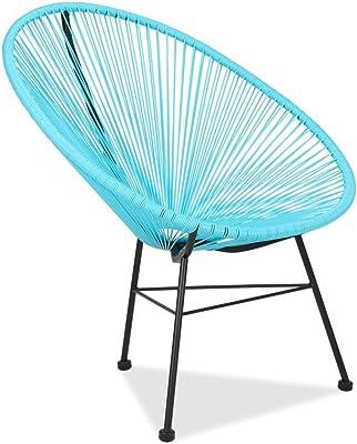 Acapulco silla azul Sillón metálico cuerdas azules para jardín ...