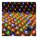 Solar Net Lights Outdoor, 8 Modes 200 LEDs 9.8ft x 6.6ft Tree Wrap Mesh Fairy Twinkle Garden String Lights for Outdoor Home Patio Lawn Porch Window Bushes Campinig Christmas Decorations (Multicolor)