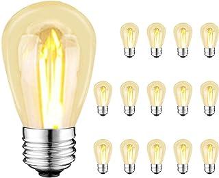 Bomcosy LED電球 E26口金 S14 1W 防雨型 フィラメント電球 15W形相当 電球色2700k 広配光タイプ アンティーク電球 クリスマス 結婚式 パーティー電飾 エジソンランプ (15個パック)
