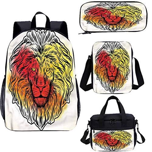 Lion Mochila de 17 pulgadas con bolsa de almuerzo conjunto de estuche, tres colores Head Jungle King 4 en 1 conjuntos de mochila