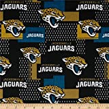 Traditions NFL Cotton Broadcloth Jacksonville Jaguars , Gold/Black/Aqua Quilt Fabric by the Yard