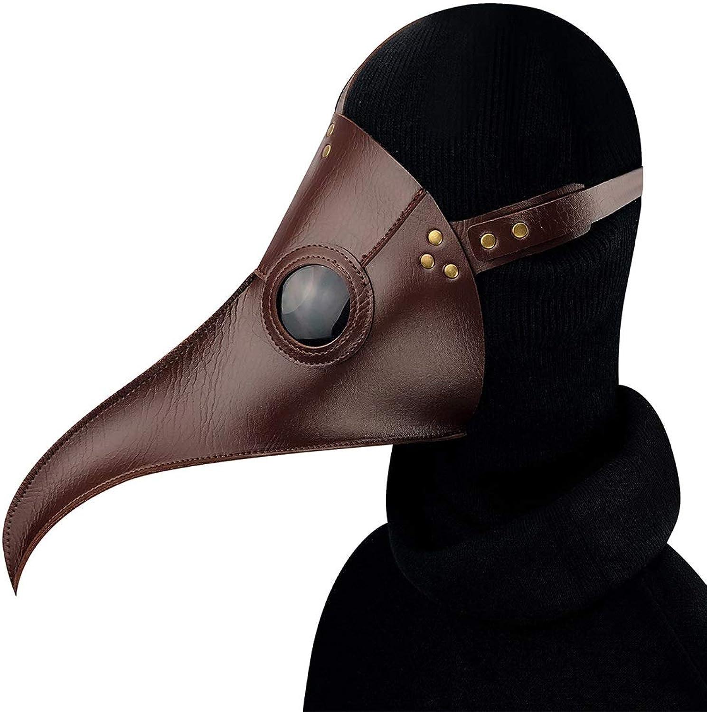 FUBULECY braun Cuspirostrisornis Lange Nase Vogel Maske Schnabel mittelalterlichen Steampunk Halloween Party Maskerade Kostüm Requisiten