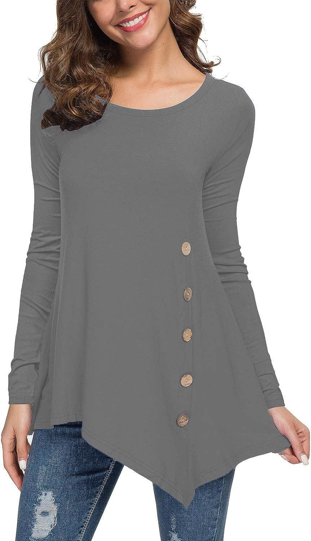 POKWAI Womens Fall Tunic Top Long Sleeve Scoop Neck Button Side Tunic Shirts