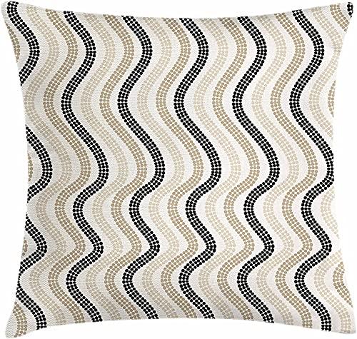 Funda de cojín Color Crema para cojín, líneas onduladas Verticales con Lunares, patrón de repetición Retro Abstracto, Tono de Color, Funda de Almohada Decorativa Cuadrada, 45x45 Blanco Negro