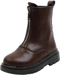 Daclay Chaussures Enfants Martin Bottes Filles Automne et Hiver Bottes en Coton Fermeture éclair Plus Bottes Courtes en Ve...