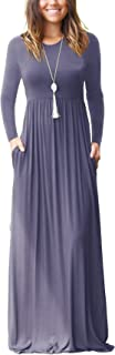 GRECERELLE Women's Long Sleeve Loose Plain Maxi Dresses Casual Long Dresses Wite Pockets