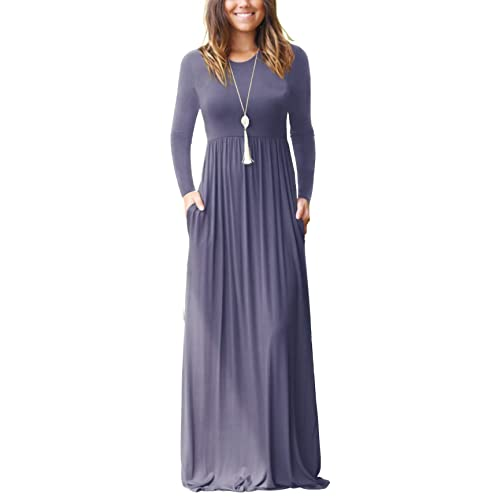 1cacffa3045 GRECERELLE Women s Short Sleeve and Long Sleeve Loose Plain Maxi Dresses  Casual Long Dresses with Pockets