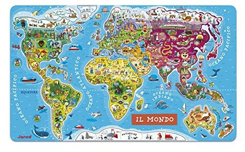 Janod- Puzzle Magnetico Carta del Mondo in Legno, Planisfero Murale con 92 Pezzi Calamitati, Versione Italiana, Gioco Didattico a Partire da 7 Anni, Single, 70 x 43 cm, J05500