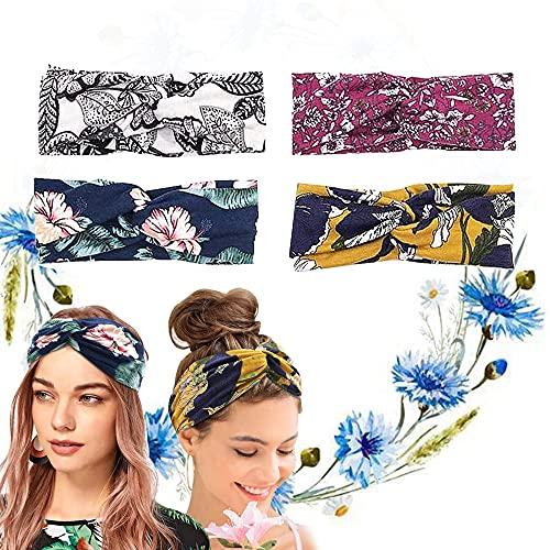 XCOZU - 4 diademas para mujer, con diseño floral elástico, estilo bohemio, vintage, para mujer, para yoga, deporte
