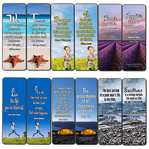 Creanoso Inspirational Quotes Bookmarks Cards (60-Pack)- Happiness Joy Health Bookmarker Bulk Set - Motivational Sayings Beautiful Assorted Pack - Best Stocking Stuffers for Adults Teens Men Women