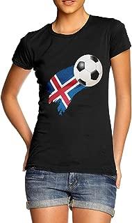 TWISTED ENVY Womens Novelty T Shirt Iceland Football Soccer Flag Paint Splat