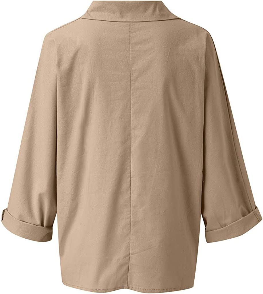 Women Casual Loose Blouse Long Sleeve Cotton Linen Plus Size Soild Blouses Tops Shirts Baggy Pullover
