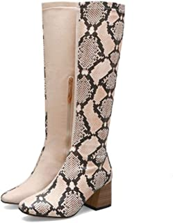 GanQuan2018 Snake Print+Flock Knee High Riding Knight Boots Women Chunky High Heels Patchwork Long Boots Lady Shoes