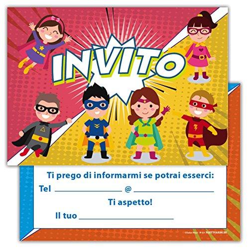 Partycards Set di 12 inviti Compleanno Biglietti invito per Festa Compleanno per Bambini e Adulti in...