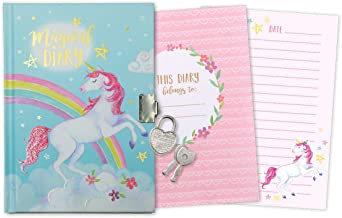 Jewelkeeper Girl's Unicorn Secret Diary with Heart Shaped Lock and Key, Private Journal