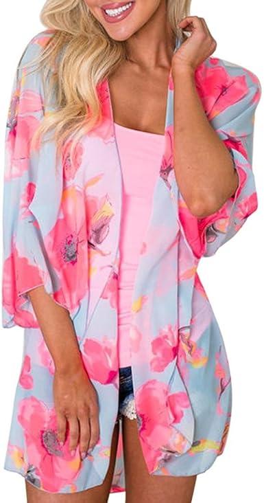 DEELIN Flores De Verano para Mujer ChifóN Kimono Cardigan Blusa Blusas Tops Chaquetas