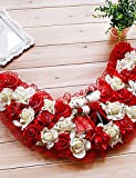 Mode Bouquet,fleurs artificielles 19,7 'style rural blanc rouge simulation guirlande de fleurs avec des jouets en plastique porte demi-cercle guirlande