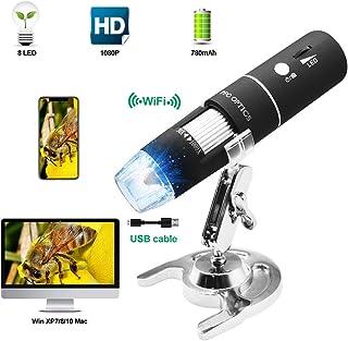 PFC Optics Wifi デジタル 顕微鏡50X-1000X倍率 1080P WiFi デジタル 電子顕微鏡 小型 軽量 コンパクト USB充電 8LEDライト搭載 iOS/Android/Windowsに対応 肌チェック/生物観察/細かい部品チェック実験【日本語説明書付き】