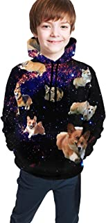 Cyloten Kid's Sweatshirt Galaxy Cute Corgi Running Pullover Hoody Teen's Breathable Long Sleeve Sports Hoodies
