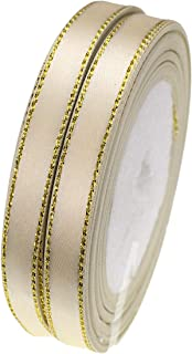 ATRibbons 50 Yards 3/8 Inch Wide Single-face Satin Ribbon with Gold Edges for Gift Wrapping, Floral Design and Craft,25 Yards/roll x 2 Rolls (Beige)