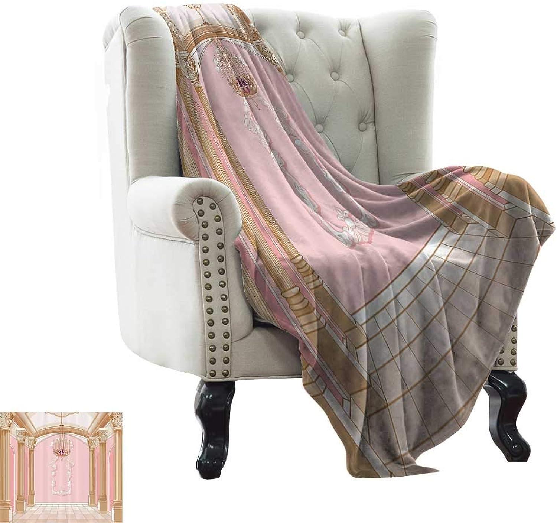 Teen Girls Decor,Plush Throw Blanket Interior of The Ballroom Magic Castle Luxurious Chandelier Ceiling Columns Kingdom 70 x50  Comfortable and Warm Beach Blanket