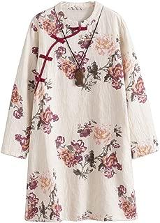 Women's Linen Dress Long Sleeve Retro Tunic Dresses Ethnic Floral Print Clothing