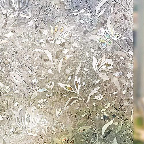 Huabei2 Mur Papier Peint Sticker Films Fenêtre décorative Confidentialité givrée sans Colle Auto Statique Cling Anti-UV Amovible for Salle de Bain Salon Chambre Cuisine Bureau Maison (60 x 254cm)