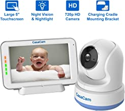 """CasaCam BM200 Video Baby Monitor with 5"""" Touchscreen and HD Pan & Tilt Camera, Two Way Audio, Lullabies, Nightlight, Automatic Night Vision and Temperature Monitoring Capability"""
