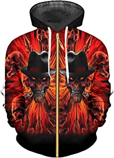 799d089973 zippern Zip Men Women s 3D Digital Print Smoking Skull Sweatshirt Casual Hoodies  Hip Hop Sportswear