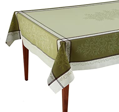 Occitan Imports Olive Vert Jacquard French Tablecloth, 63 x 118 (8-10 People)