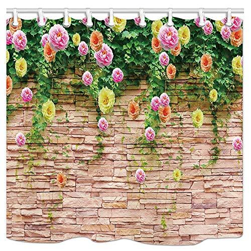 123456789 Jäten Rose Duschvorhang & Haken, Rosmarin Blume auf Granit Tapete Duschvorhänge mit