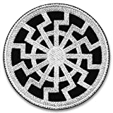 The Black Sun - TAT (White)   Embroidered Patch   Paganism   Futhark Runic Alphabet   Rune Sowilo   Norse Alchemy   Scandinavian Mythology   Norge Traditions   Culture Vikings   Asatru   Viking Metal