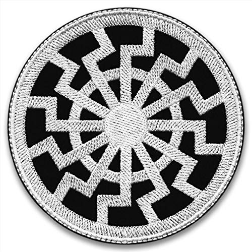 The Black Sun - TAT (White) | Embroidered Patch | Paganism | Futhark Runic Alphabet | Rune Sowilo | Norse Alchemy | Scandinavian Mythology | Norge Traditions | Culture Vikings | Asatru | Viking Metal