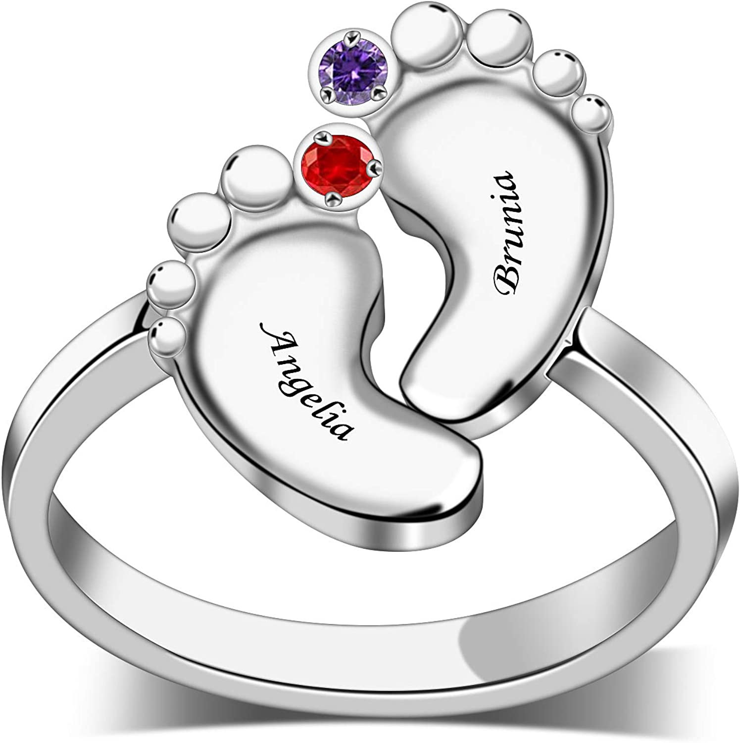 Personalized S925 MotherFamily Rings with 2 Cus Birthstones Bombing Cheap super special price free shipping can