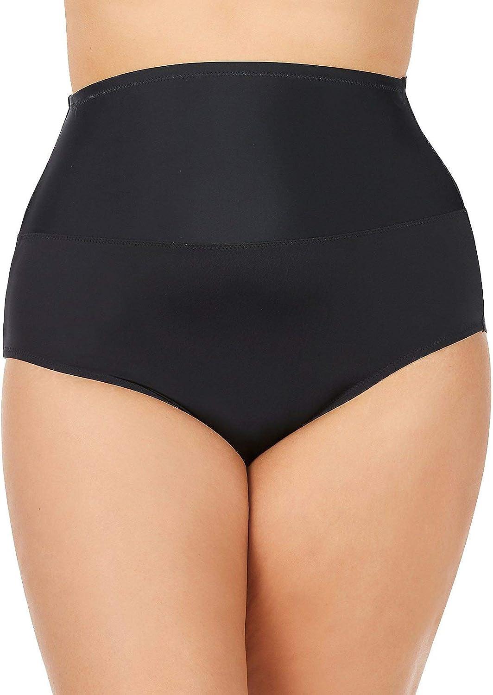 Leilani Women's Plus Size High Waist Tummy Control Bikini Swim Bottom