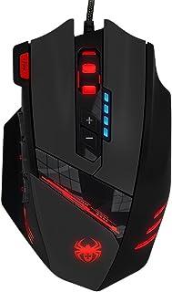 Kingtop 4000 dpi Ratón Gaming de Programable óptico Alta Precisión, 12 Botones Programables, Cartucho Peso Tuning, Respirar Luz