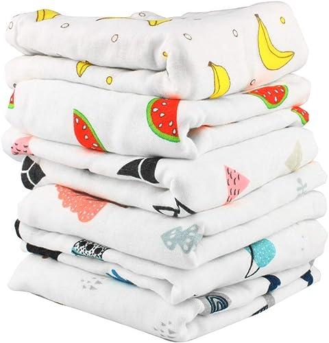 Larcele 6 Pieces/Set Baby Washcloth 6 Layers 100% Cotton Baby Burp Cloth 11.8 x 19.7 inch ETXHJ-01 (Random Color)