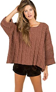 Oversized Cable Knit Pullover Sweater with Wide Crew Neck