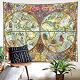 LB Vintage Hand Drawn World Map Wall Hanging, Medieval Nautical Geographic Map Tapestry Wall Art Bedroom Living Room College Dorm Room Decoration, 78 x 60 Inches