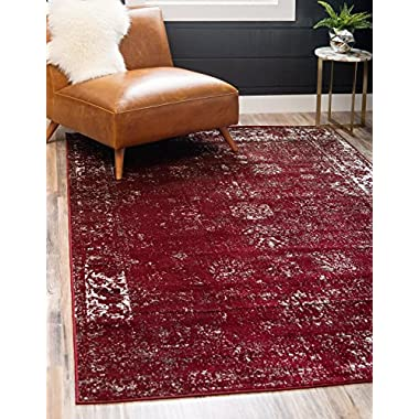 Unique Loom Sofia Collection Burgundy Area Rug (4' x 6')