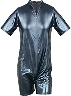 Men's Wet Look Patent Leather Bodysuit Jumpsuit Clubwear Catsuit Costume Boxer Leotard