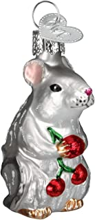 Old World Christmas Glass Blown Ornament with S-Hook and Gift Box, Forest Animals Collection (Mouse [Grey])