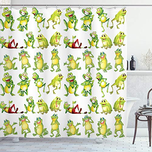 funny frogs shower curtain