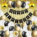 Happy Birthday - Ghirlanda per compleanno, colore nero e oro, set decorativo per feste di ...