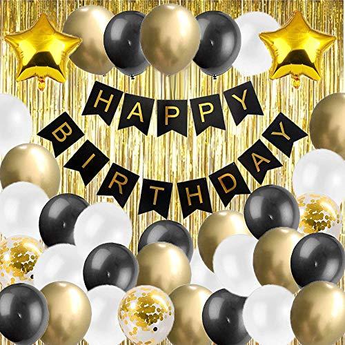 ourworld Happy Birthday Girlande Schwarz Gold Geburtstagsdeko Party Deko Set 1 Happy Birthday Banner 2 Folienvorhänge 33 Luftballons 2 Sternfolienballon