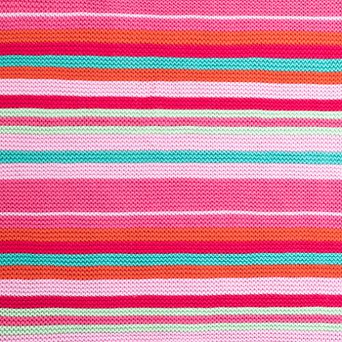 Cosatto Kinderwagendecke für Kinderwagen, rosa Streifen, gekämmte Baumwolle, gestrickt, Geschenk zur Geburt