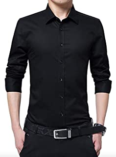 Men's Cotton Black Solid Full Sleeve Shirts