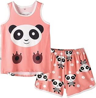 MyFav Big Girls Sleeveless Pajama Sets Cute Panda Polka Dot Sleepwear Loungewear
