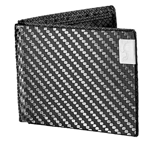 Common Fibers Mens MAX Carbon Fiber Wallet with RFID Protection (Black)
